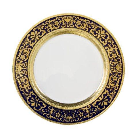 Piatto singolo modello Classico in porcellana con decoro Oro e Blu Royal