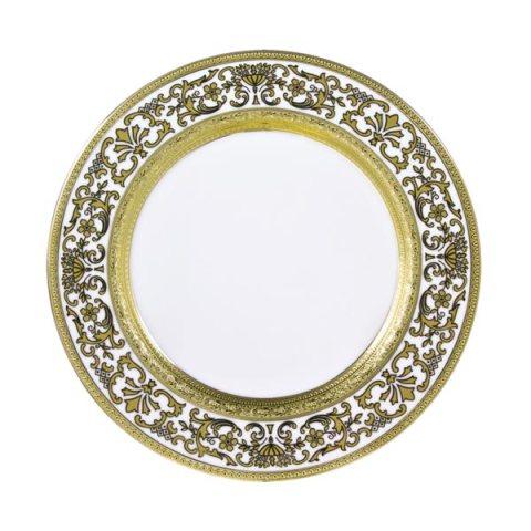 Piatto singolo modello Classico in porcellana con decoro in Oro Royal