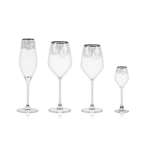Servizio di Bicchieri Completo Calici Stile Moderno con Decoro Platino Boston