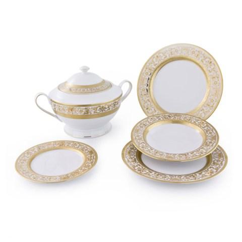 Completo Piatti modello Classico in porcellana con decoro in Oro Royal