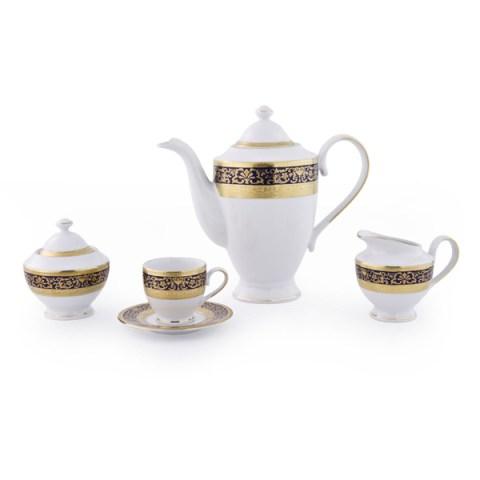 Servizio The Caffe modello Classico in porcellana con decoro Oro e Blu Royal