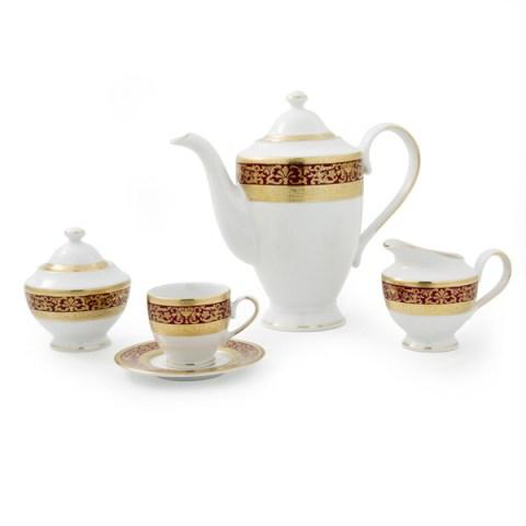 Servizio the caffè modello Classico in porcellana con decoro Oro e Bordo Royal