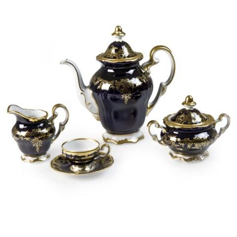 Servizio caffè porcellana tedesca decoro a mano oro e cobalto - Caterina