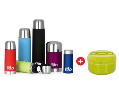 Termostilo Set di Thermos per bevande in Acciaio Inox Colorati caldo o freddo 16 ore con pic nic Verde