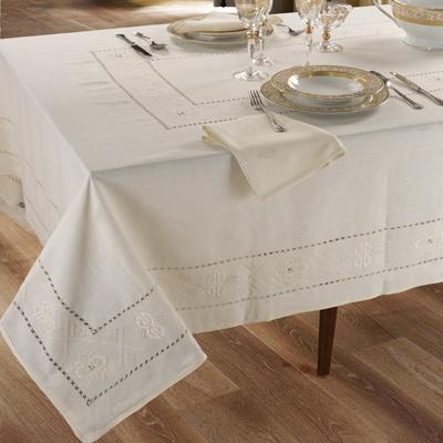 tovaglia tavola completo ricamato classico panna bianco incanto