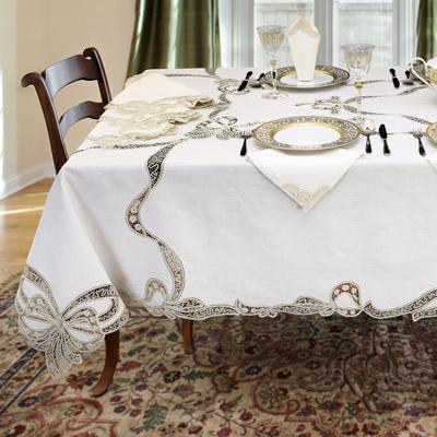 tovaglia da tavola con pizzo tombolo fiocco ecrù in puro lino