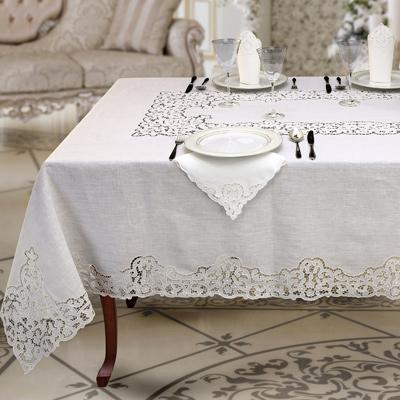 tovaglia da tavola in puro lino bianco ad intaglio a mano - Prestige