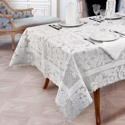 tovaglia da tavola sfilata in lino bianco - mani di fata
