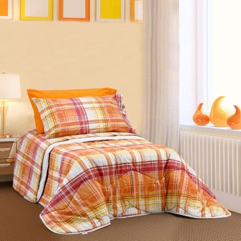 Coordinato letto Arancio quadroni scozzese 1 piazza Alicante