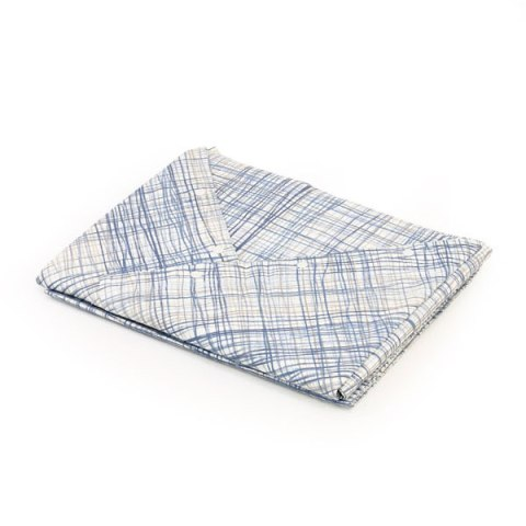 Coppia lenzuola in cotone matrimoniale con disegno blu, grigio e sabbia - Siviglia