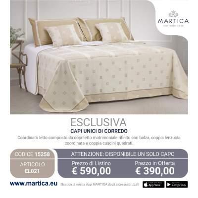 Offerta Composè letto panna classico con disegno piazzato sul piano letto