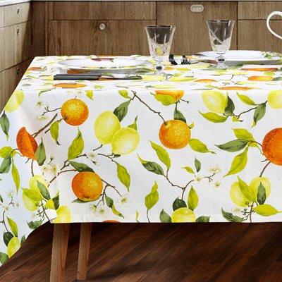 Completo tavola con fantasia agrumi limoni arance per 8 e 12 persone in puro cotone