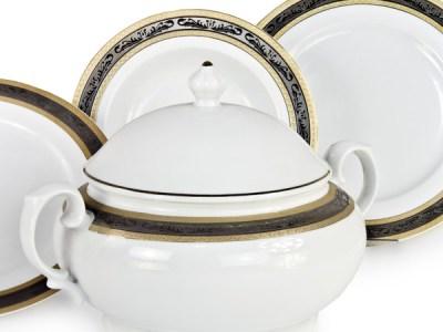 Servizio di piatti in porcellana tedesca bavaria con decoro in oro e platino - Riad