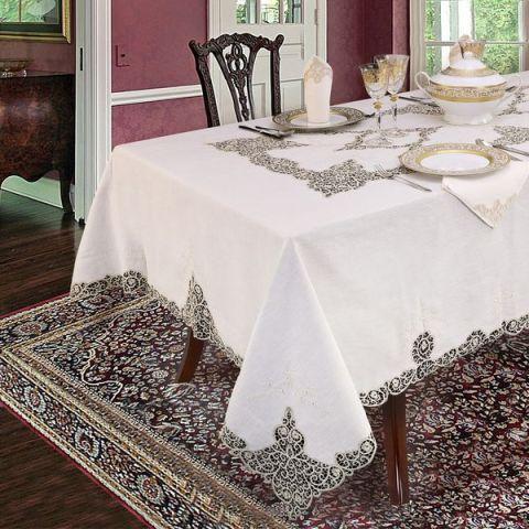 Servizio tavola per 12 persone in pizzo Tombolo puro lino ecrù - Regina