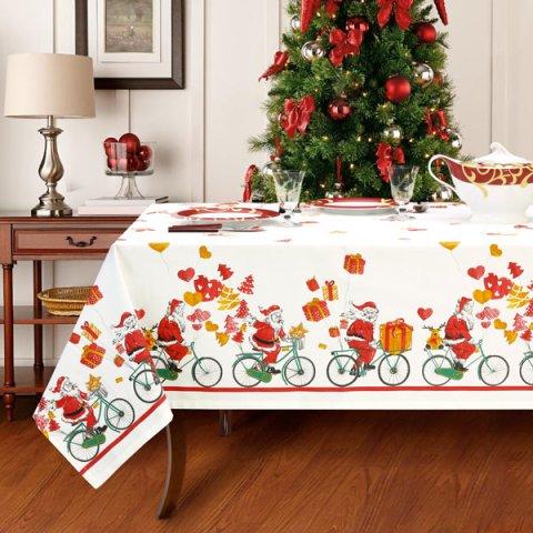 Set tovaglie natalizie con Babbo Natale per 8 e 12 persone in puro cotone