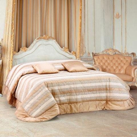 Trapunta matrimoniale invernale colore rosa antico in pura seta con lavorazione patchwork a righe