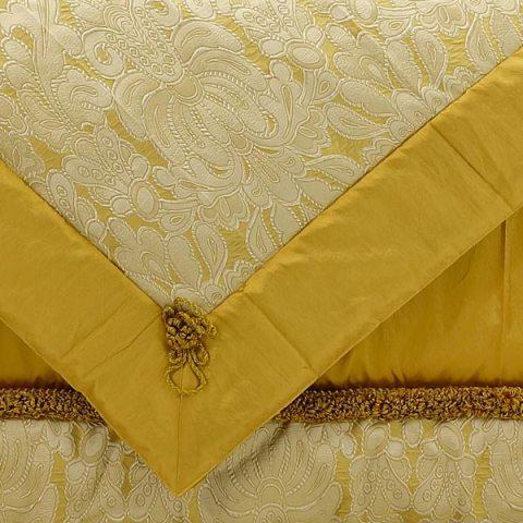 Completo letto per il Corredo della Sposa in pura seta colore oro