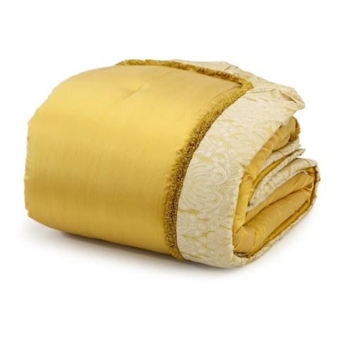 Coordinato letto matrimoniale invernale in pura seta colore oro