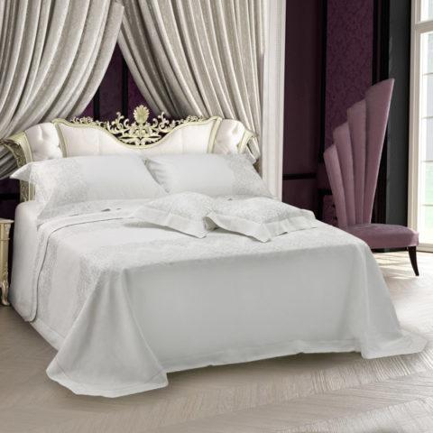 Collezione primo letto sposa in lino colore panna con pizzo ricamo argento - Eloise