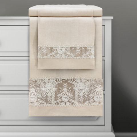 Coppia asciugamani 1 + 1 in lino ecrù con pizzo ricamato su tulle - eloise