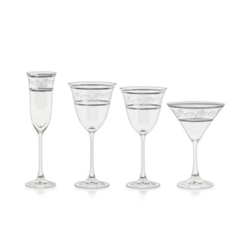 Servizio bicchieri classico con decoro platino ed incisione Angeli