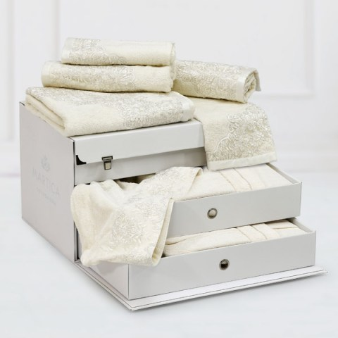 Bauletto bagno spugna 7 pezzi panna tulle ricamo argento - Caterina