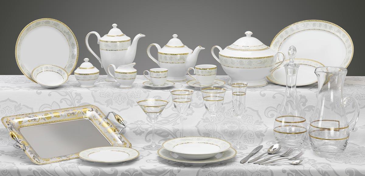 Completo piatti bicchieri e vassoi con decoro in oro Angeli