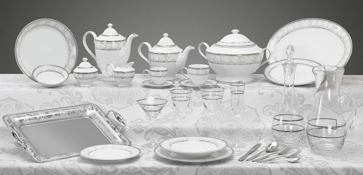 Completo piatti bicchieri e vassoi con decoro platino Angeli