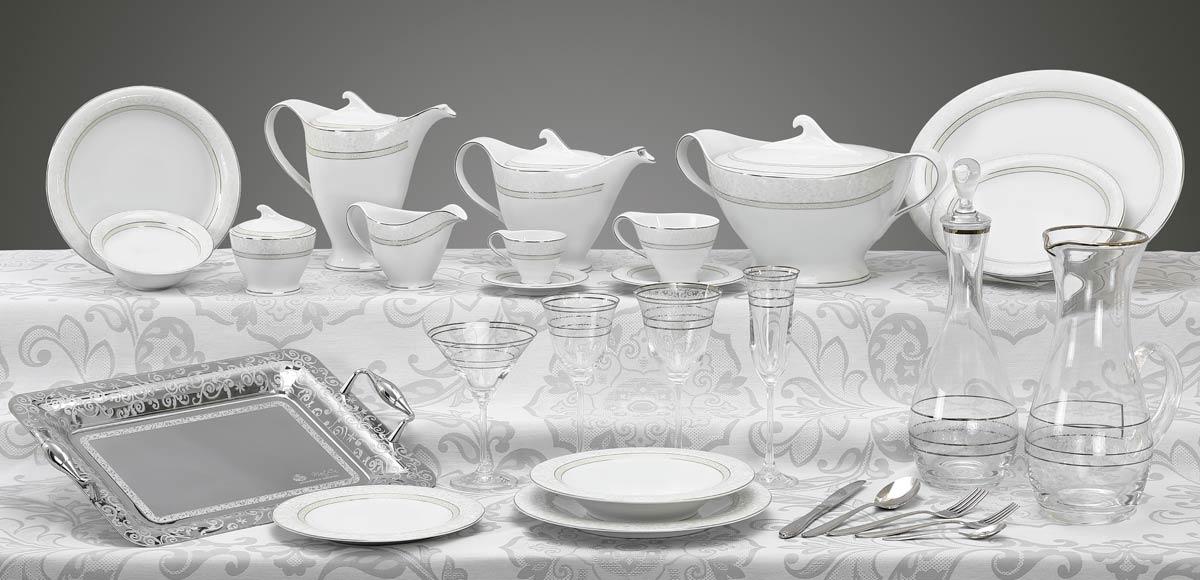 Completo piatti bicchieri vassoi decoro platino Versailles