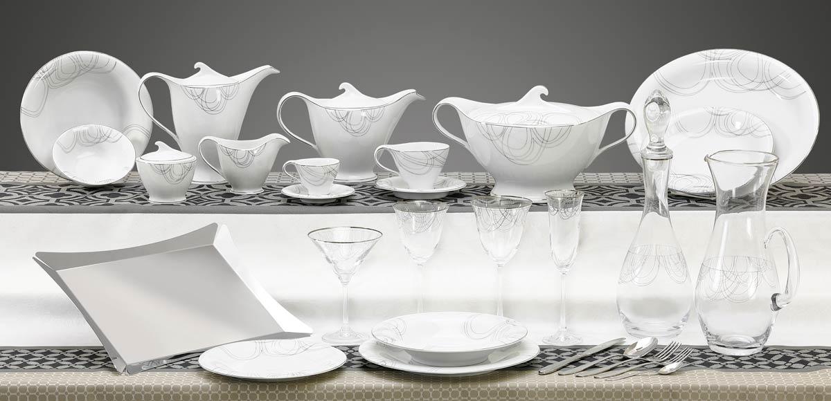 Completo piatti bicchieri vassoi design moderno decoro platino - Dallas