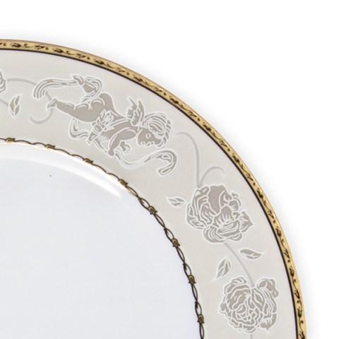 Completo piatti decorati oro angeli porcellana