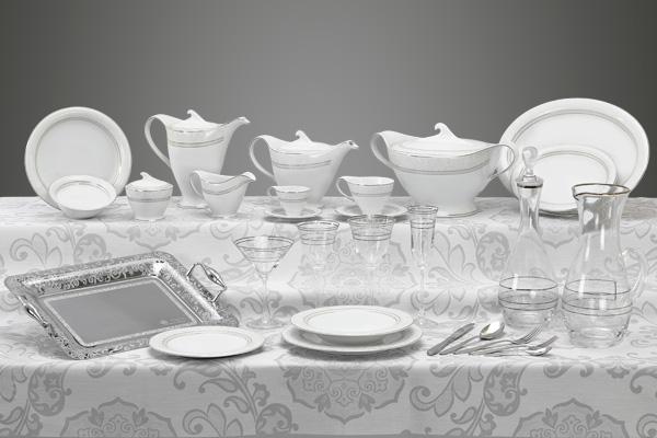 Coordinato piatti bicchieri e vassoi decoro argento Versailles