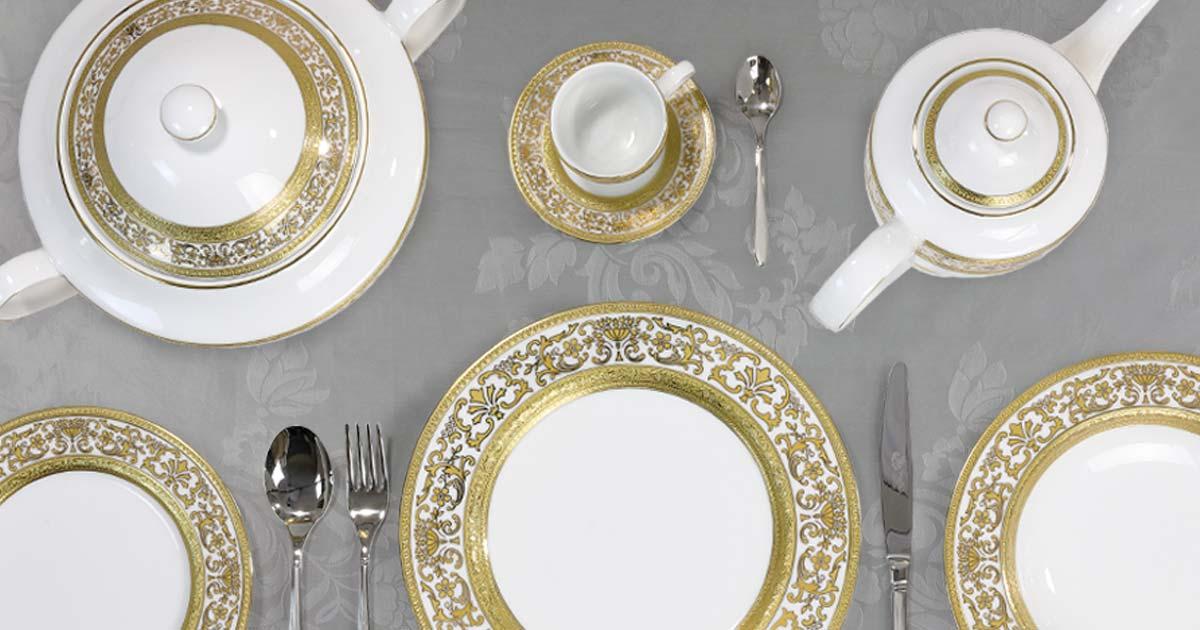 Servizio tavola porcellana decoro classico oro - Royal