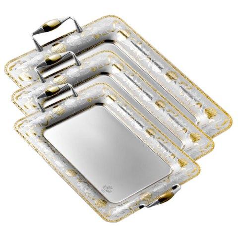 Set vassoi 3 pezzi in oro incisi Angeli acciaio