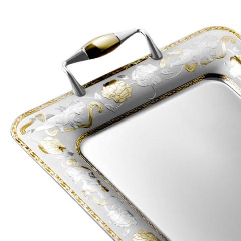 Vassoio in acciaio inox 18-10 Angeli Oro