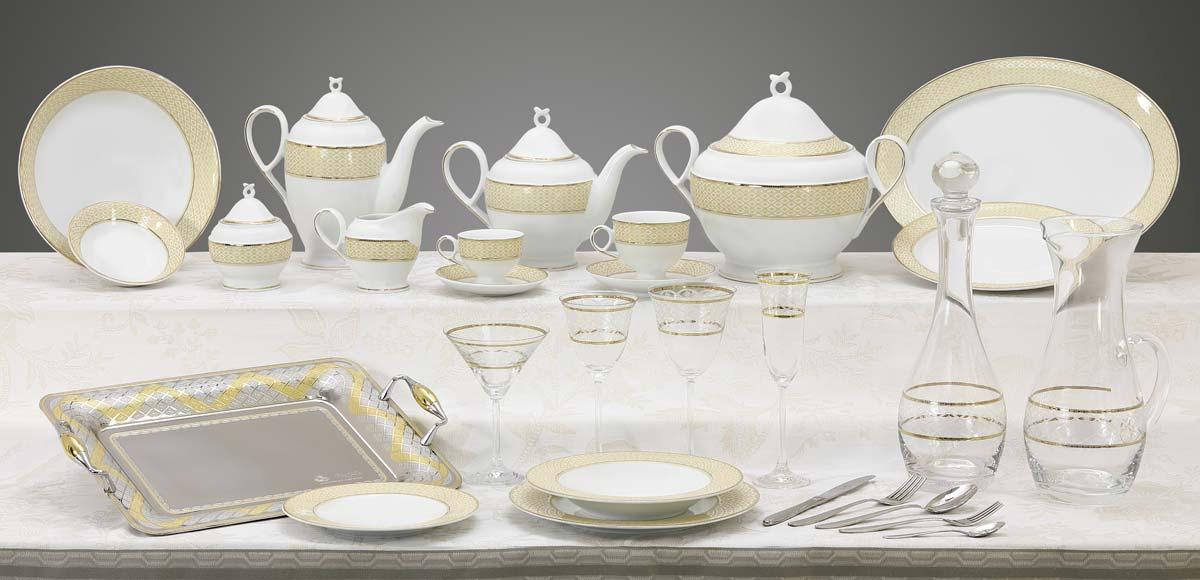 Completo piatti bicchieri e vassoi con decorazione filo oro classica - Carisma