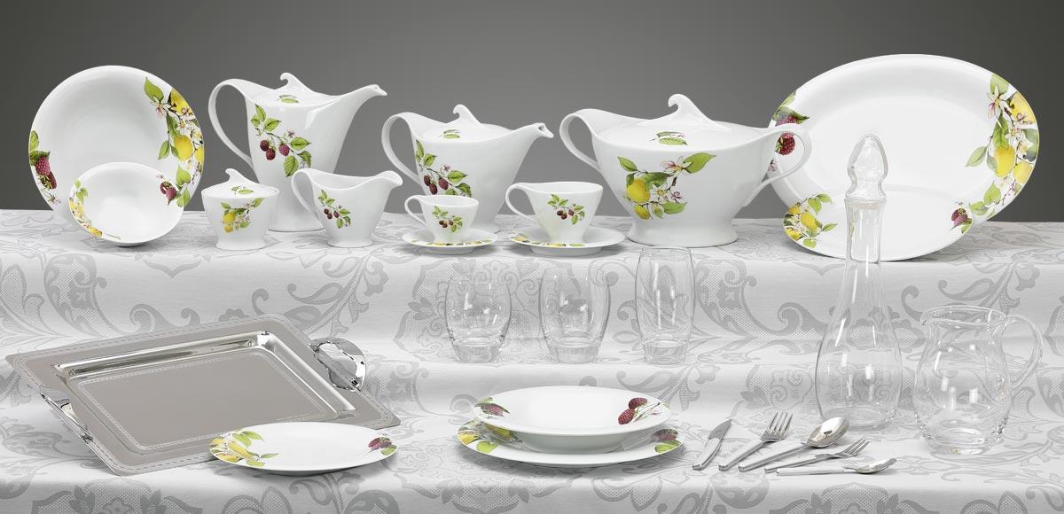 Completo piatti bicchieri e vassoi decorazione limoni e lamponi