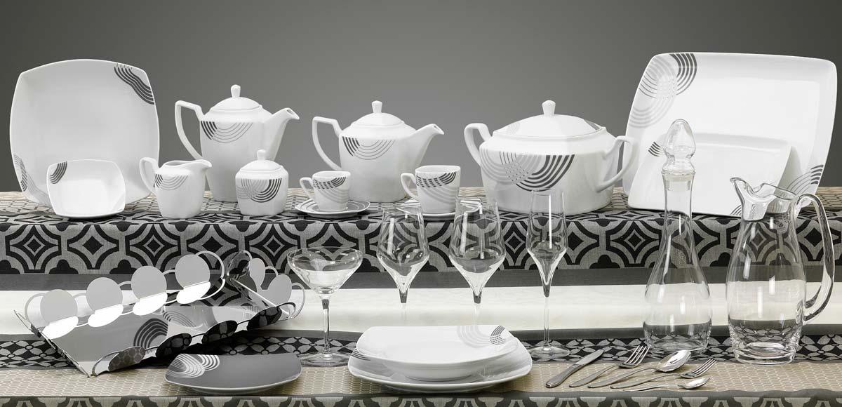 Completo piatti bicchieri e vassoi quadrati con decoro grigio Cosmo