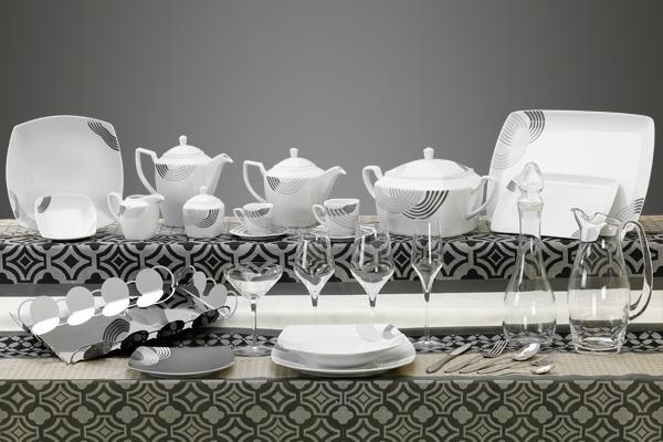 Coordinato piatti bicchieri e vassoi quadrati decoro grigio Cosmo