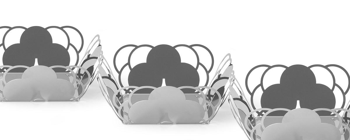 Set cestini specchio design elegante acciaio inox cosmo