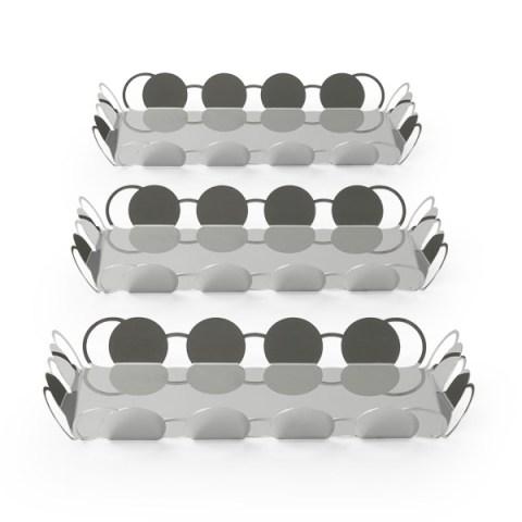 Tris vassoi specchio design acciaio cosmo