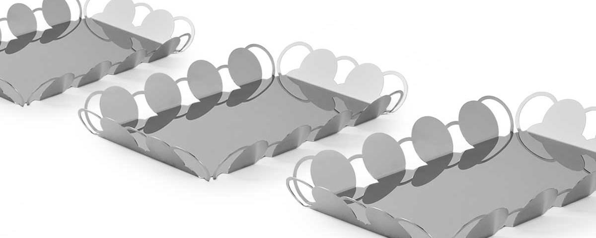 Vassoi specchio design elegante acciaio inox cosmo