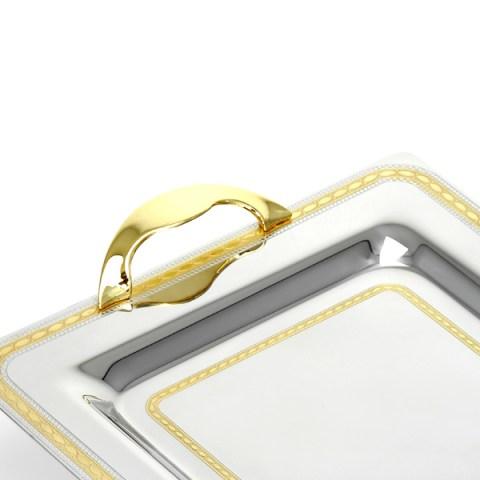 Vassoio in acciaio inox 18-10 oro greta