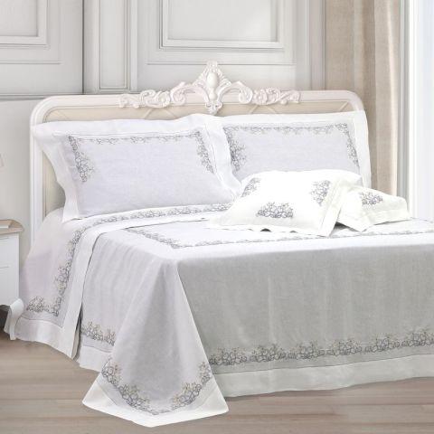 Primo letto sposa in puro lino bianco ricamato - Fiori d'Argento