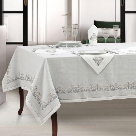 Tovaglia moderna in puro lino bianco ricamata - Fiori d'Argento