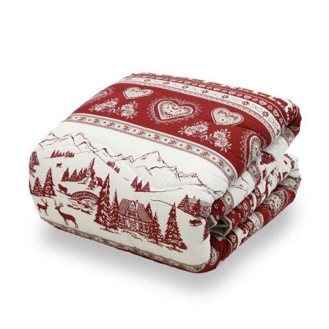 Trapunta invernale matrimoniale con fantasia natalizia - Rosso Natale
