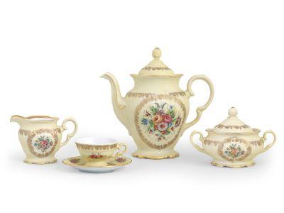 Servizio caffè classico con decoro colore crema a fiori bordo oro - Diana
