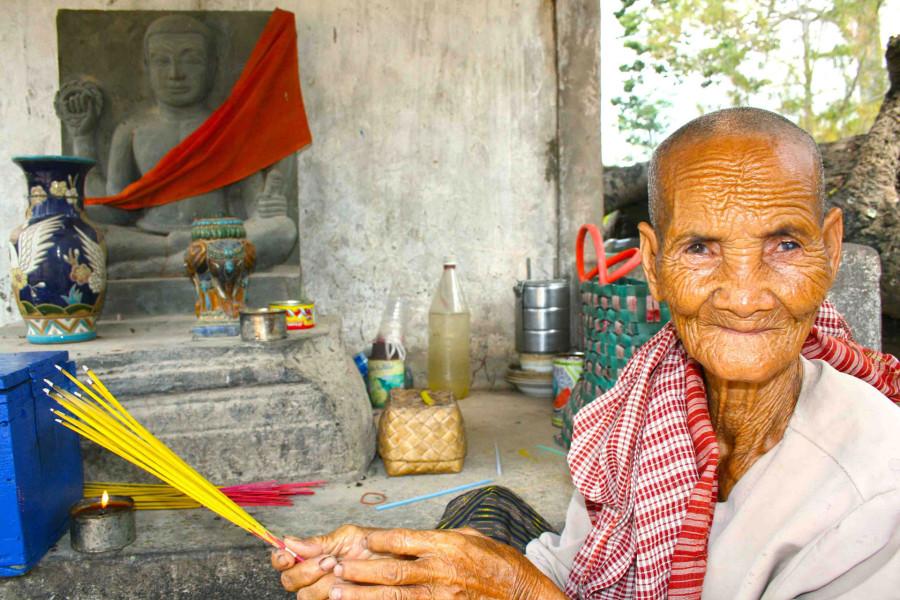 © Martina Miethig, Kambodscha, alte Frau in Tonle Bati