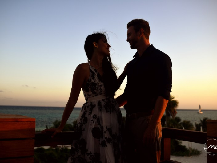 Rooftop engagement session at Chable Maroma Resort, Mexico. Martina Campolo Photography