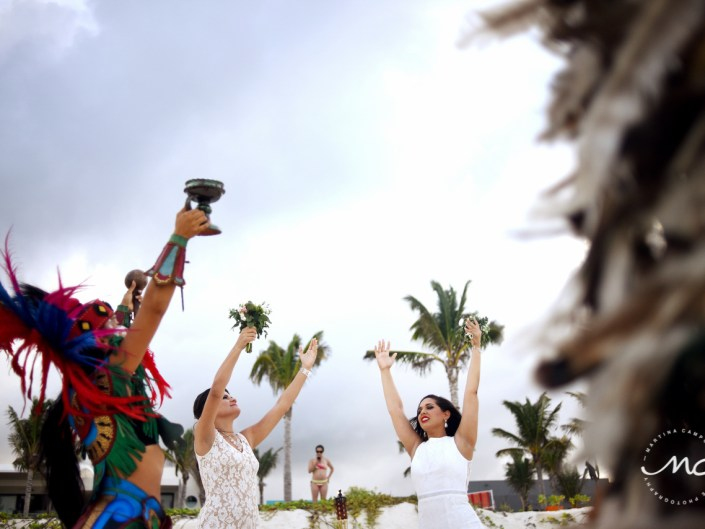 Emotional LGBT Wedding moment at Andaz Mayakoba, Mexico. Martina Campolo Photography